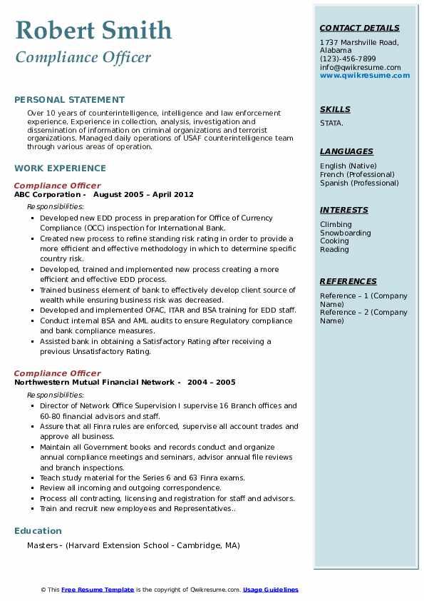 compliance officer resume samples
