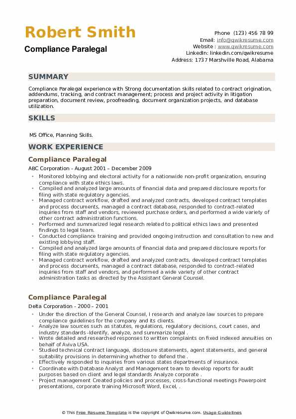 Compliance Paralegal Resume example