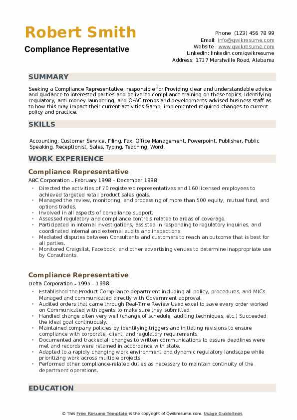 Compliance Representative Resume example