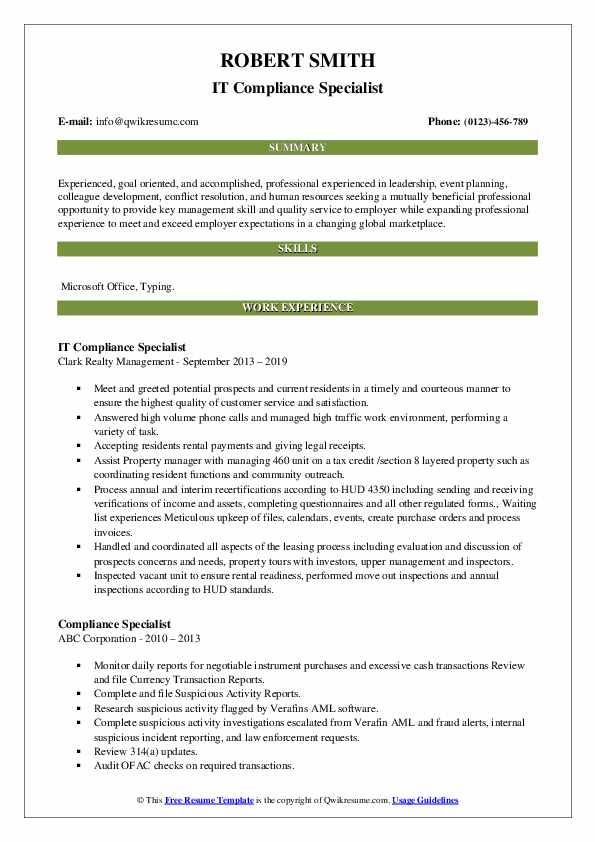 IT Compliance Specialist Resume Sample