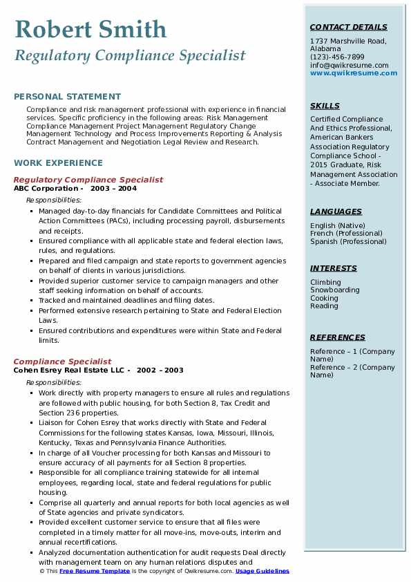 Regulatory Compliance Specialist Resume Format