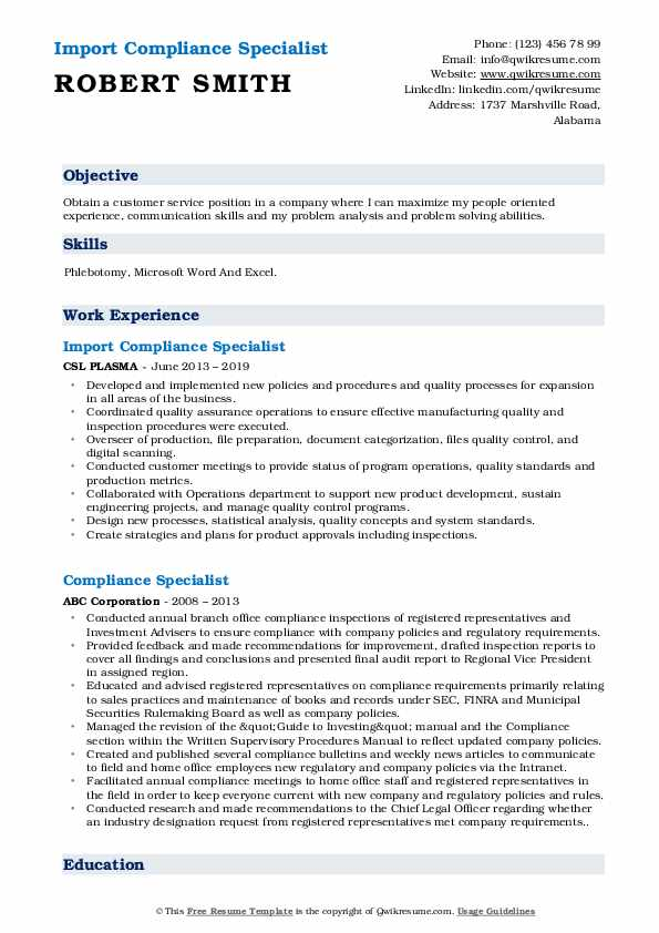 Import Compliance Specialist Resume Model