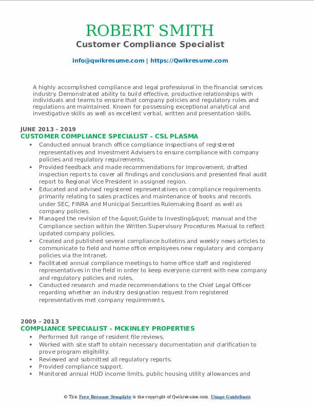 Customer Compliance Specialist Resume Model