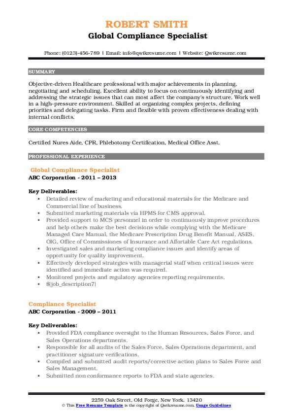 Global Compliance Specialist Resume Template