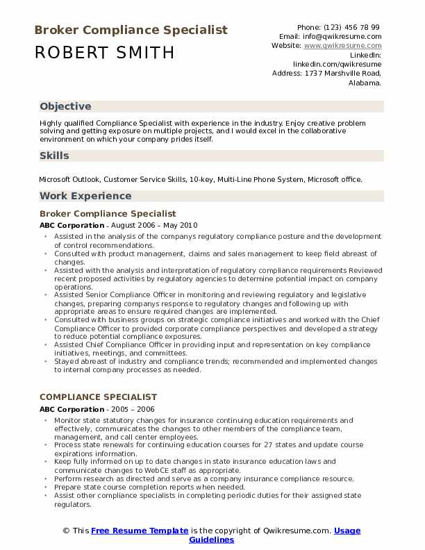 Broker Compliance Specialist Resume Sample