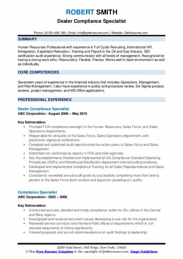 Dealer Compliance Specialist Resume Model