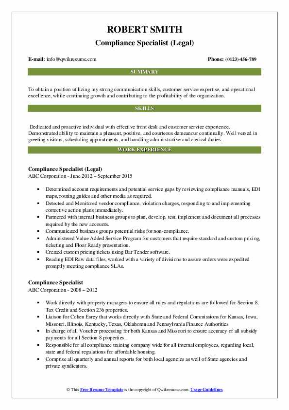 Compliance Specialist (Legal) Resume Example