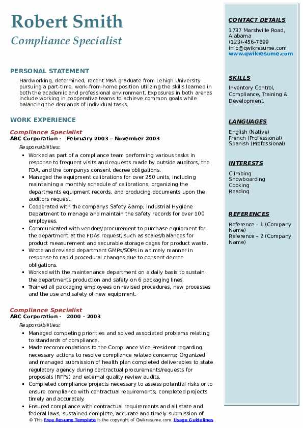 Compliance Specialist Resume Sample