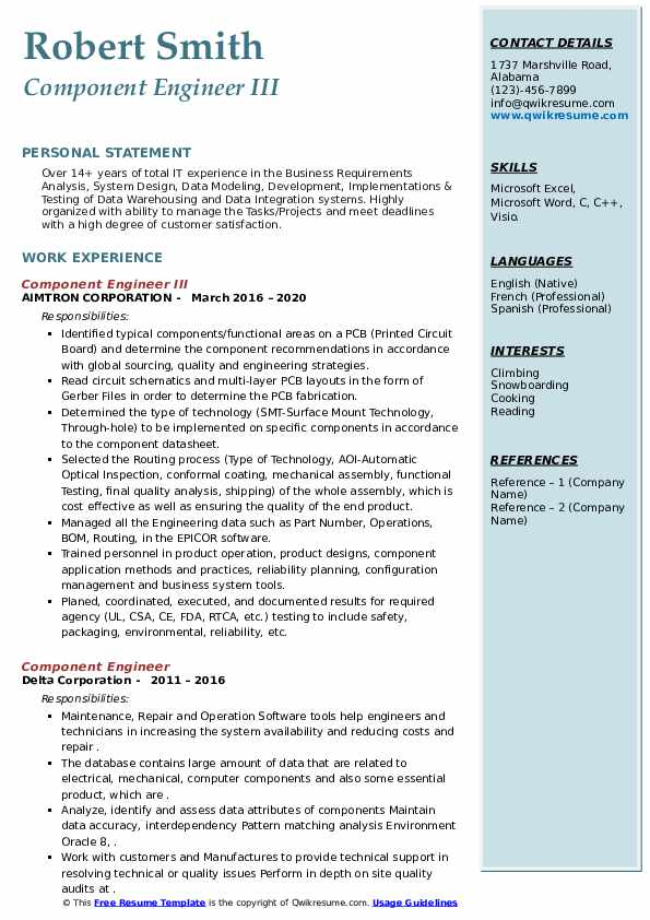 component engineer resume samples