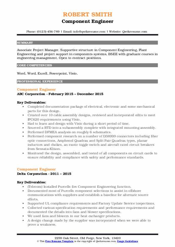 Component Engineer Resume example