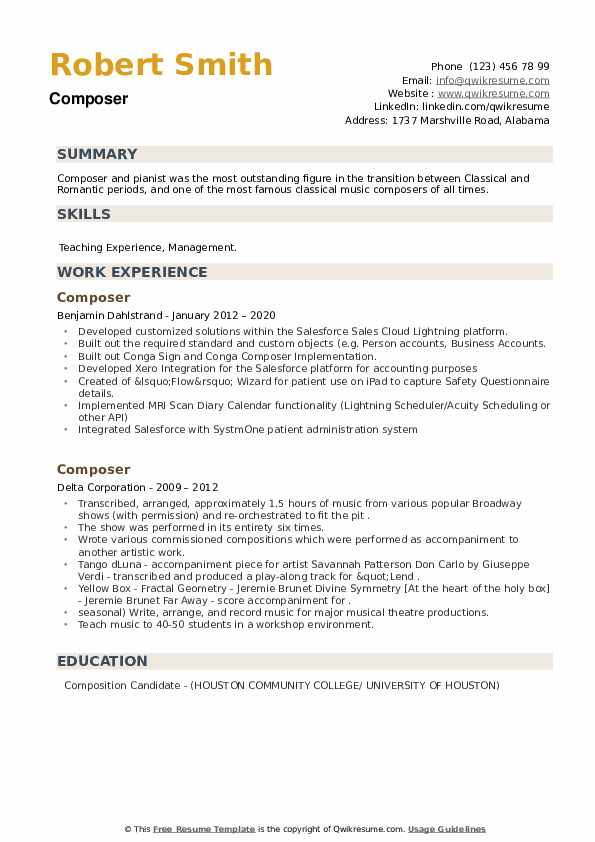 Composer Resume example