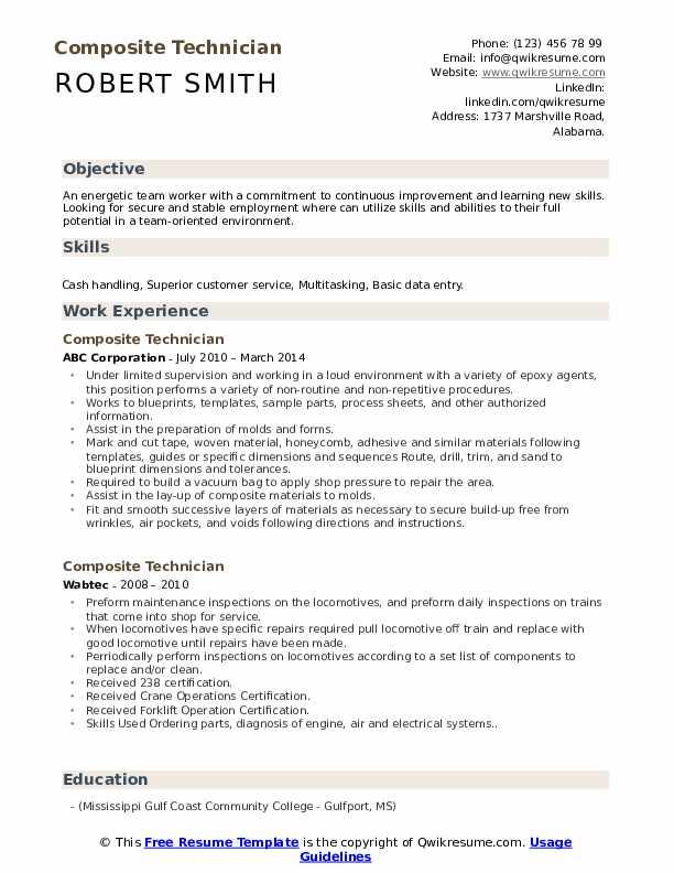 composite technician resume samples