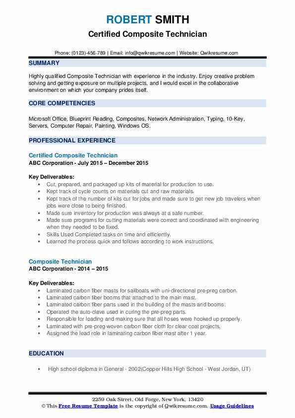 Composite Technician Resume example