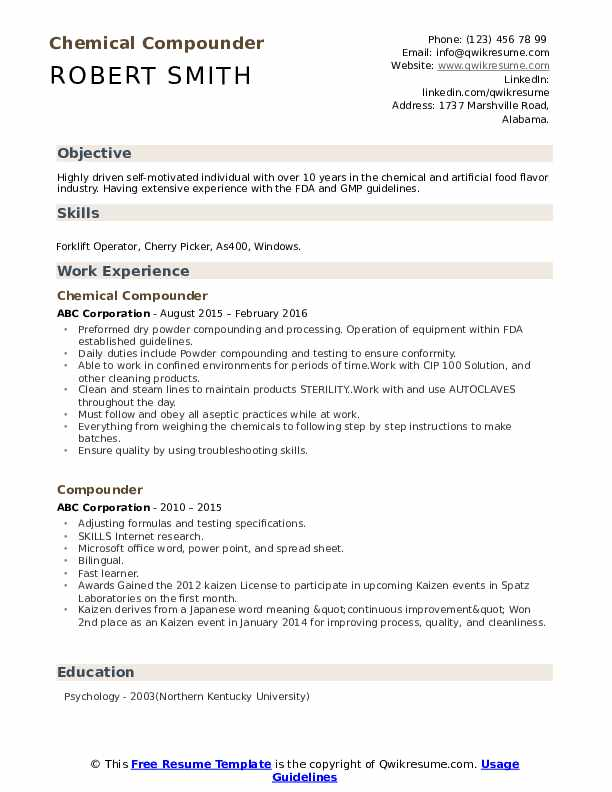 Chemical Compounder Resume Sample