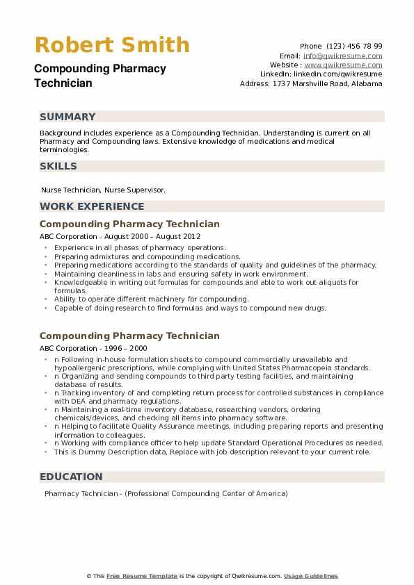 Compounding Pharmacy Technician Resume Samples | QwikResume