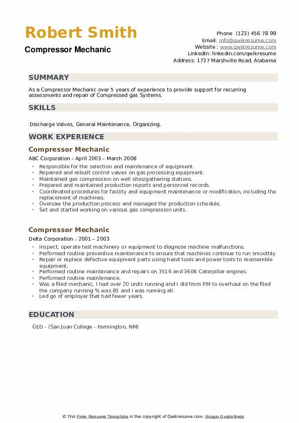 Compressor Mechanic Resume example