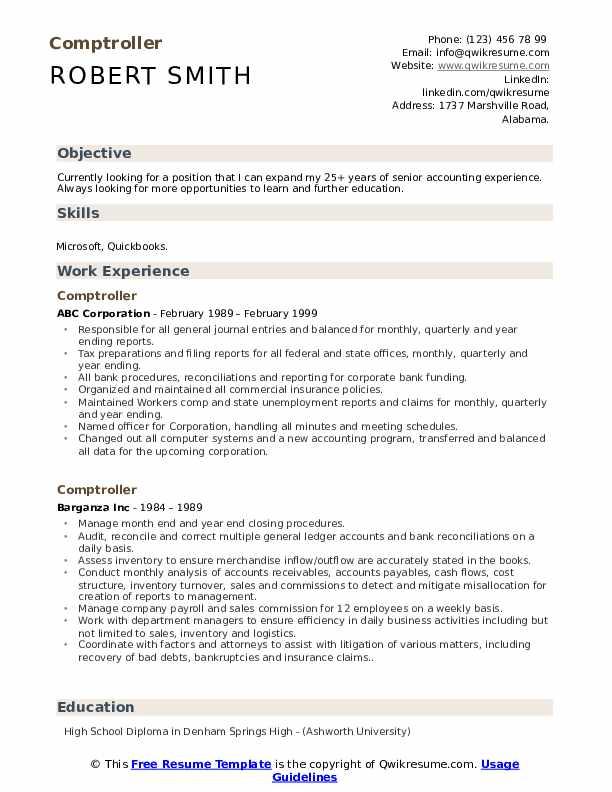 Comptroller Resume Model
