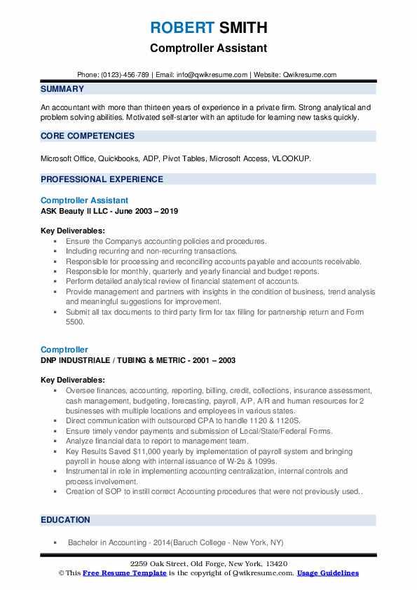 Comptroller Assistant Resume Sample