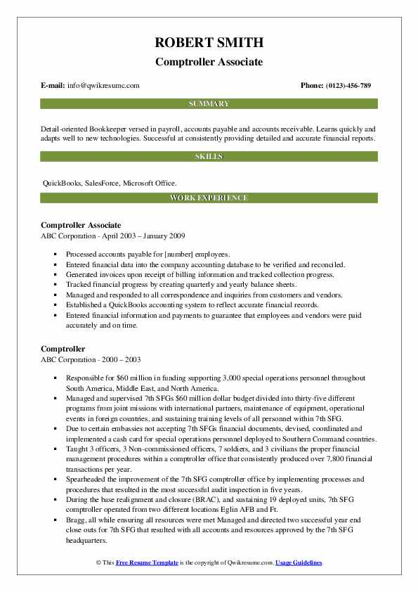 Comptroller Associate Resume Example