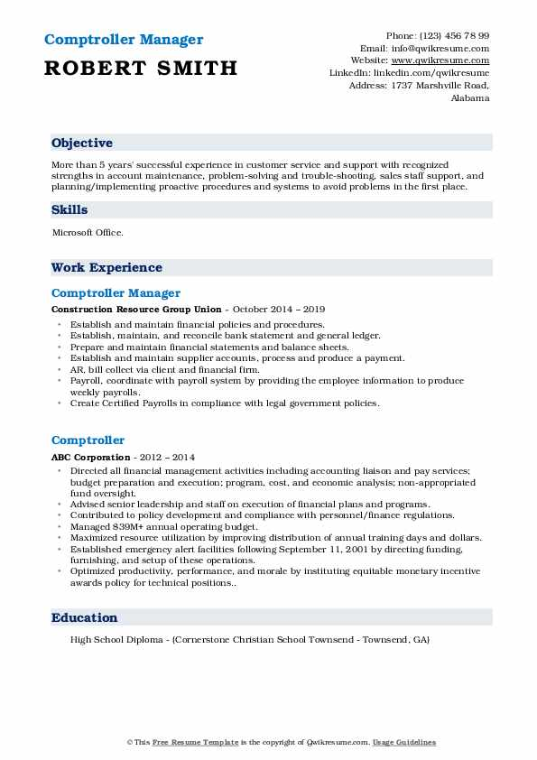 Comptroller Manager Resume Template