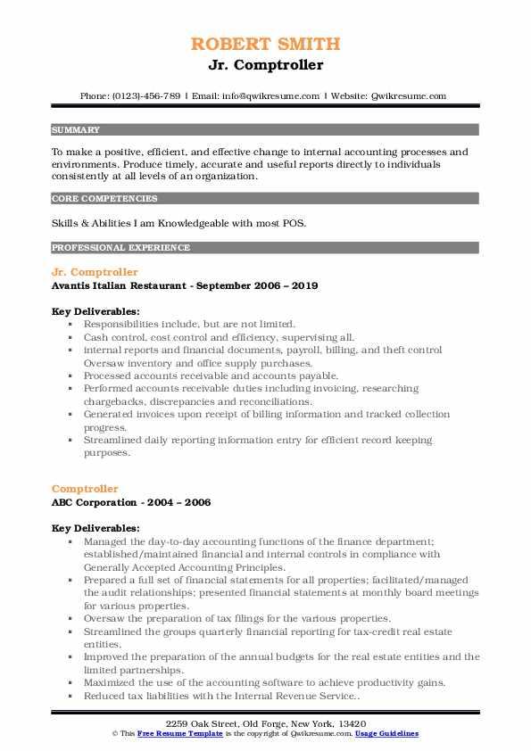 Jr. Comptroller Resume Format
