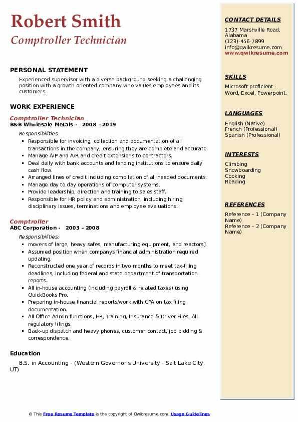 Comptroller Technician Resume Format