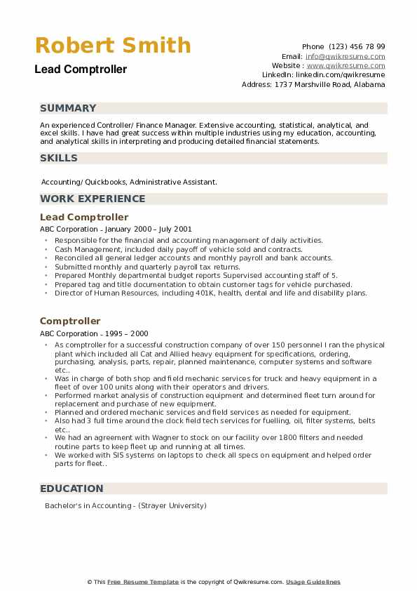 Lead Comptroller  Resume Example
