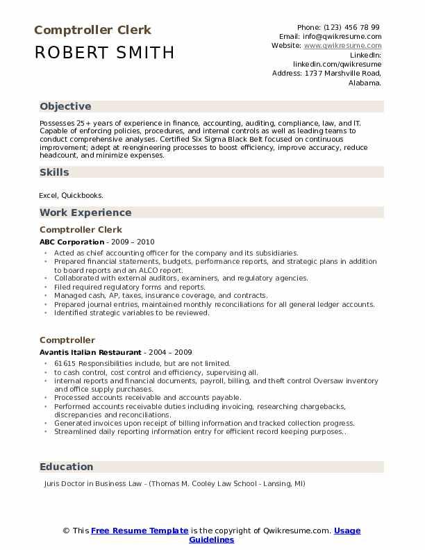 Comptroller Clerk Resume Sample