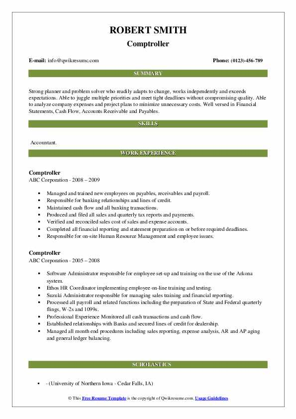 Comptroller Resume example