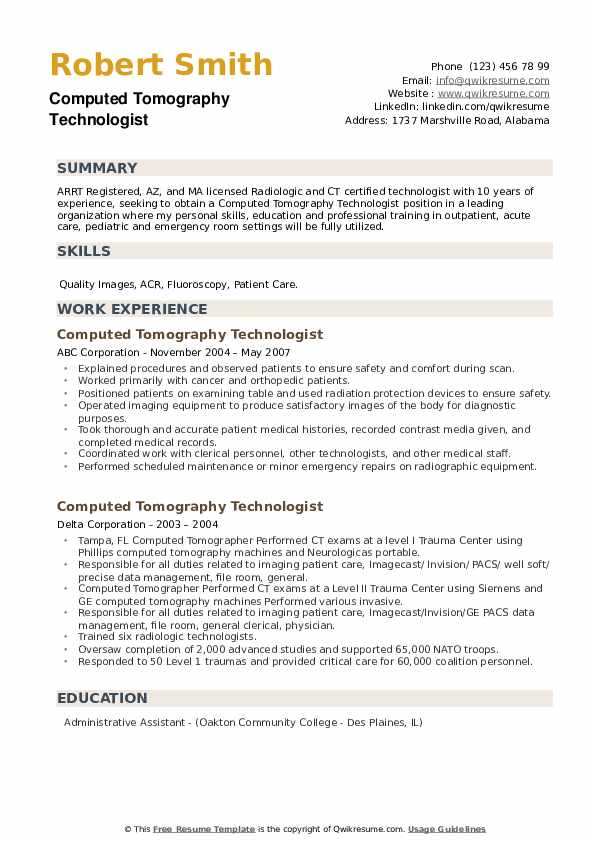 Computed Tomography Technologist Resume example