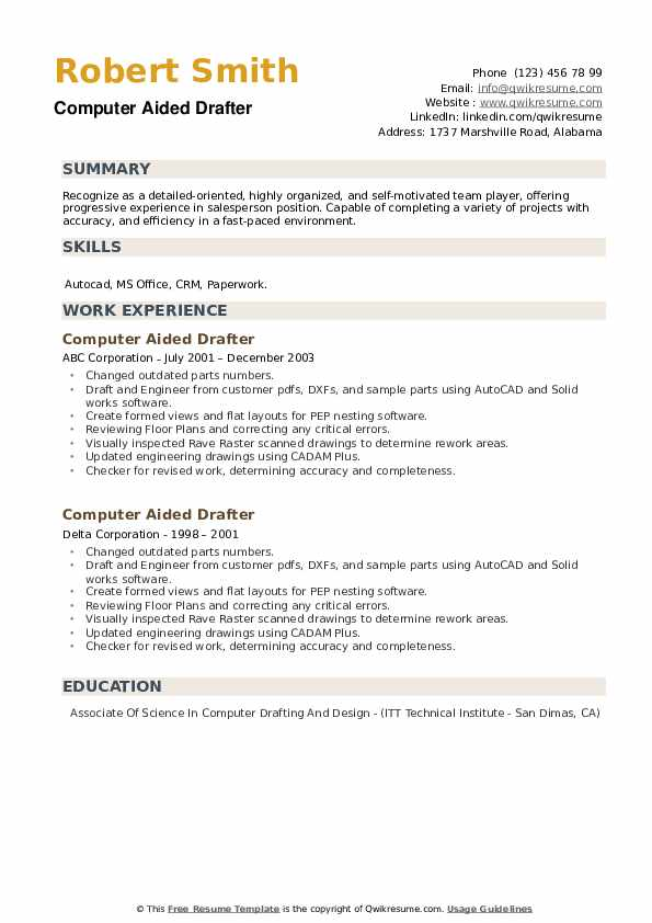 Computer Aided Drafter Resume example