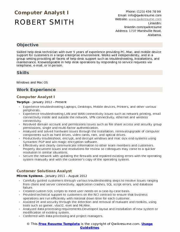 Computer Desk Resume Computer Analyst Resume Samples Qwikresume  It Help Desk Resume
