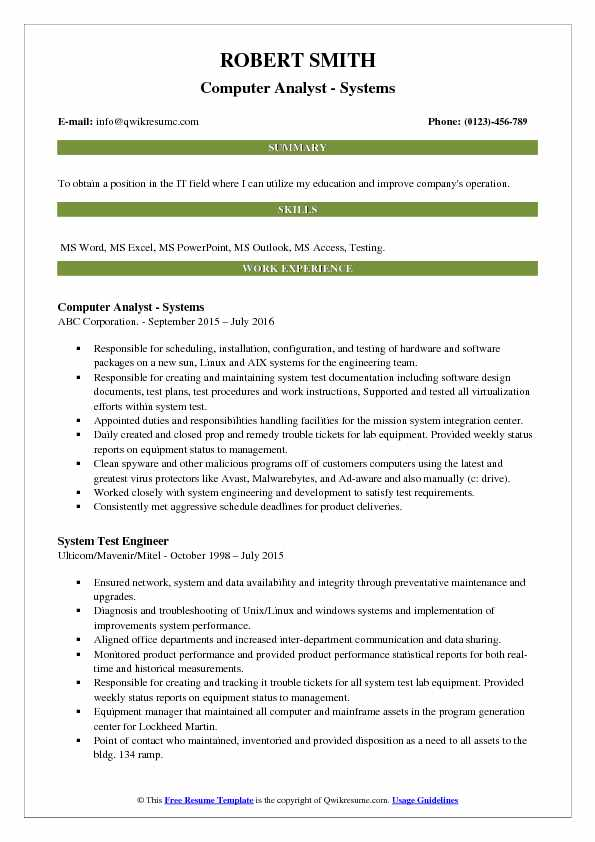 Computer Analyst - Systems Resume Format