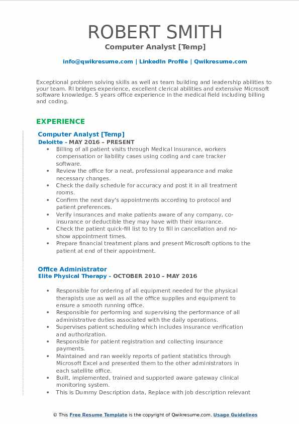 Computer Analyst [Temp] Resume Format