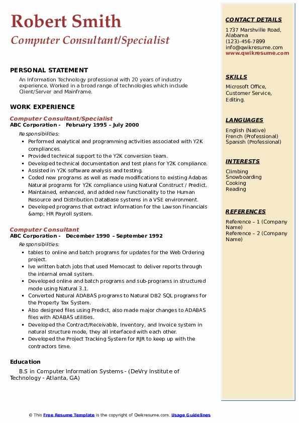 computer consultant resume samples  qwikresume