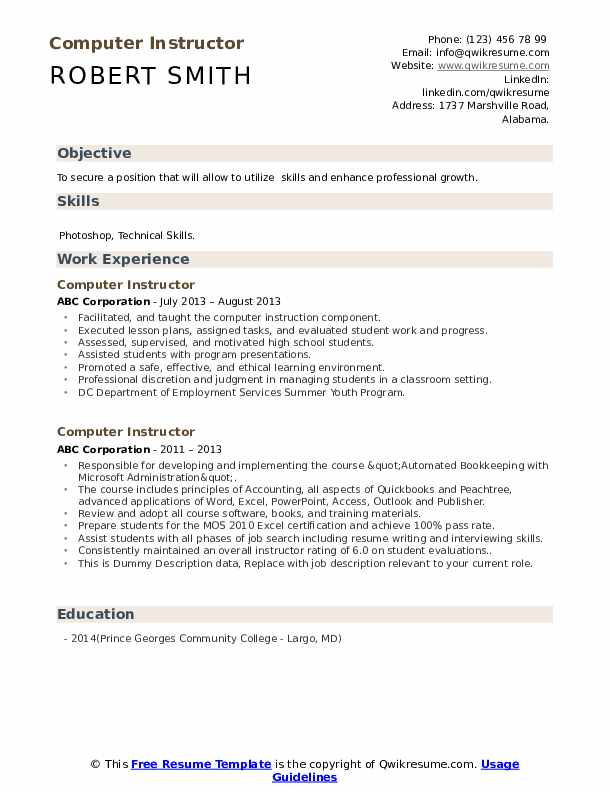 Computer Instructor Resume example