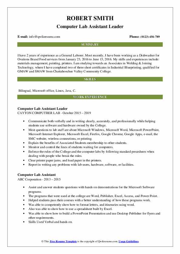 Computer Lab Assistant Leader Resume Example