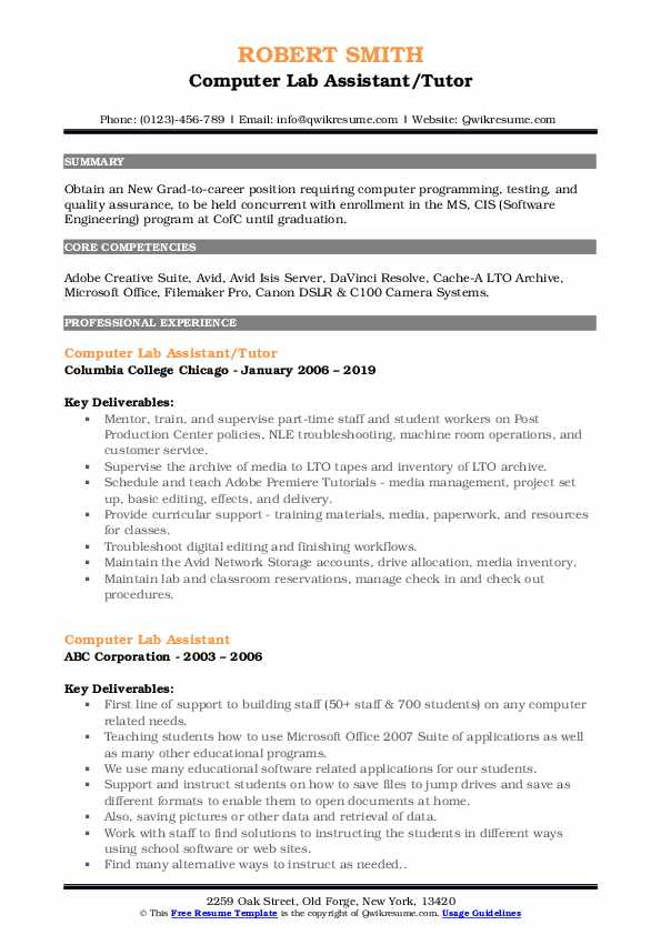 Computer Lab Assistant/Tutor Resume Model