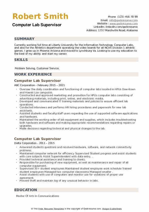 Computer Lab Supervisor Resume example