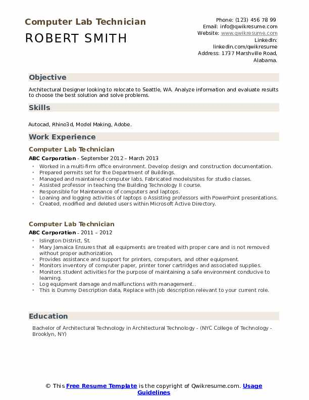 Computer Lab Technician Resume example
