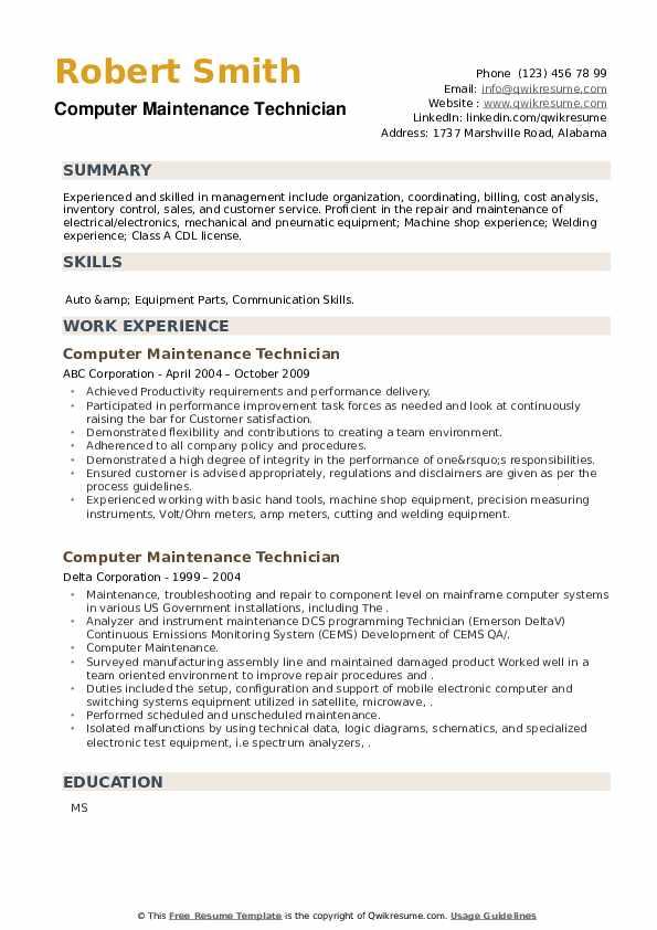 Computer Maintenance Technician Resume example