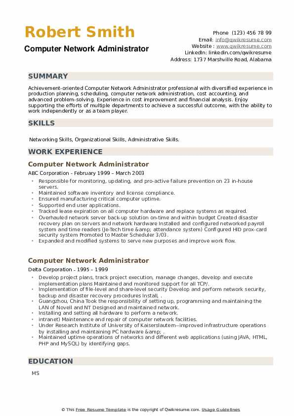 Computer Network Administrator Resume example