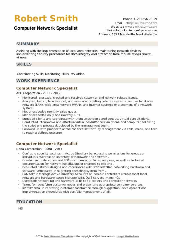 Computer Network Specialist Resume example