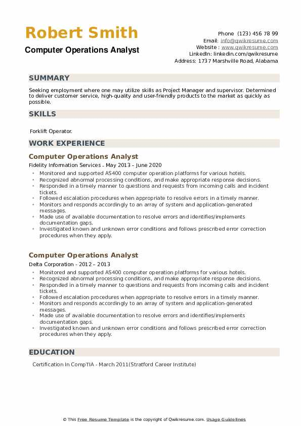 Computer Operations Analyst Resume example
