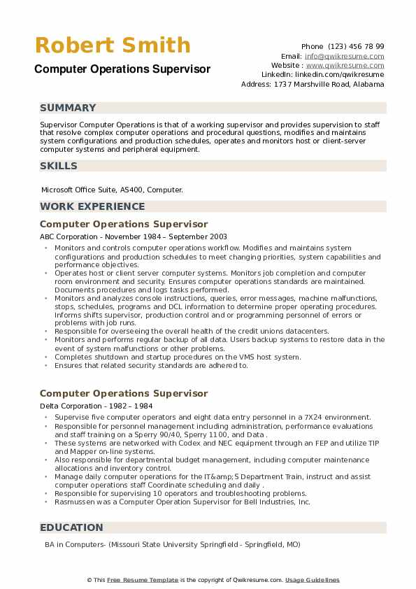 Computer Operations Supervisor Resume example