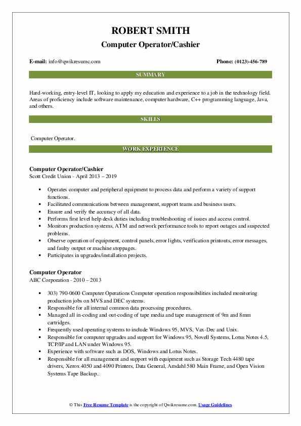 Computer Operator Resume Samples Qwikresume