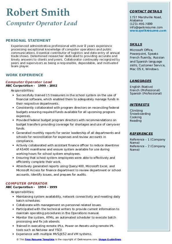 Computer Operator Lead Resume Format