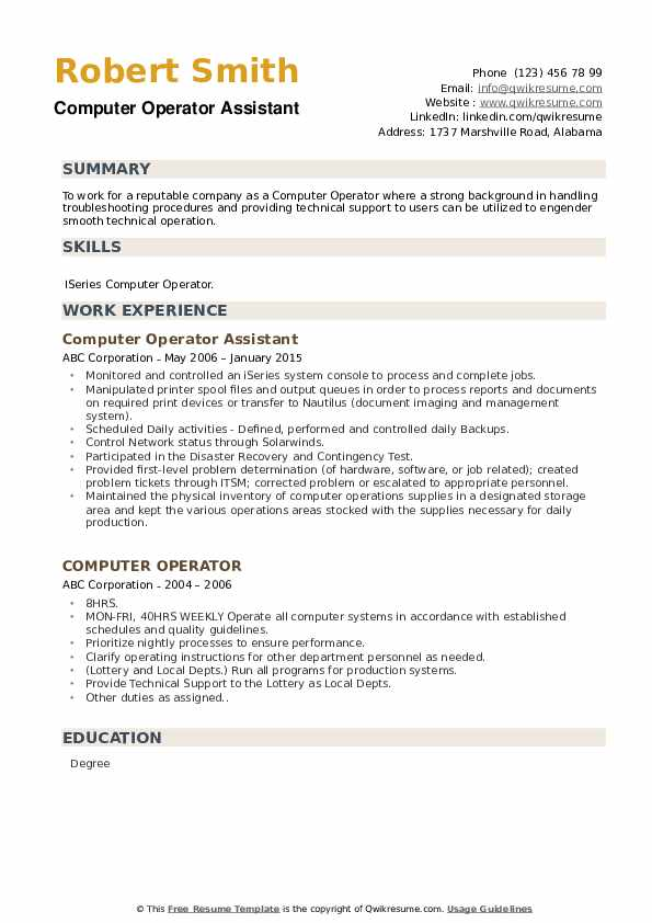 Computer Operator Assistant Resume Sample