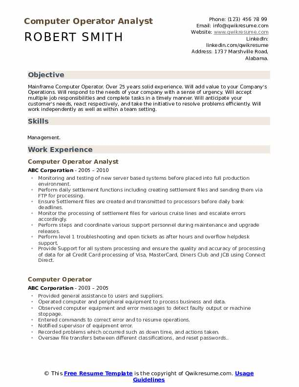 Computer Operator Analyst Resume Template