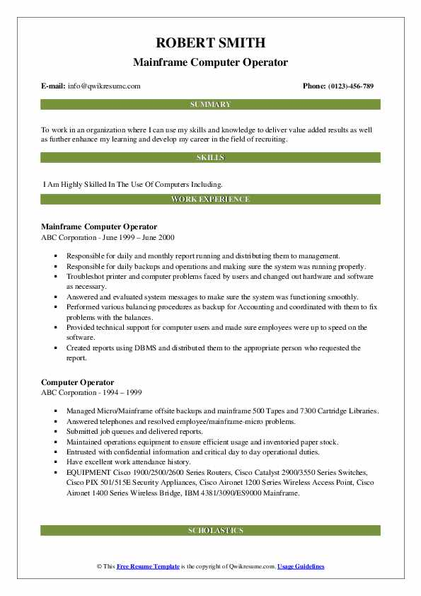 Mainframe Computer Operator Resume Model